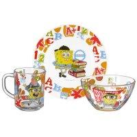 Набор детской посуды губка боб. школа, 3 предмета: кружка 250 мл, салатник