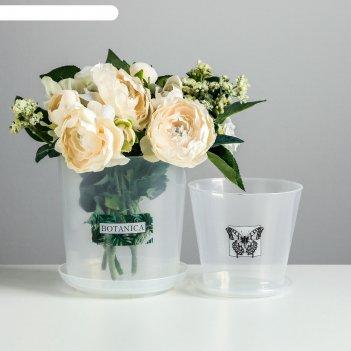 Набор кашпо с поддоном для орхидеи 2 в 1 botanica, 0,8 и 1,6 л