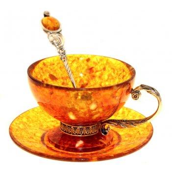 Чайный набор из янтаря с ложкой (на 4 персон)
