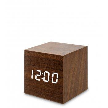 Ял-07-01/16 часы электронные мал. (коричневое дерево с белой подсветкой)