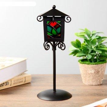 Подсвечник металл на 1 свечу уличный фонарь с витражными стёклами чёрный 2