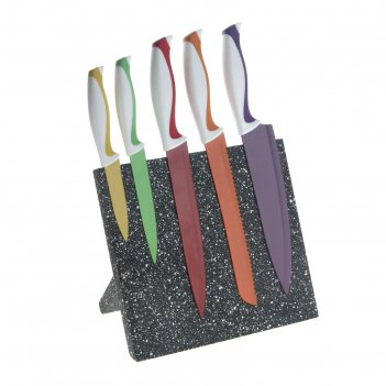Набор ножей с антиналипающим покрытием радуга на подставке, 5 шт.: лезвия