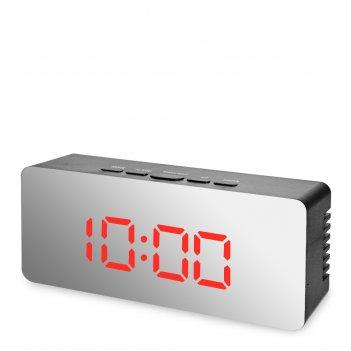 Ял-07-23/4 часы электронные мал. зеркальные (черные с красным циферблатом)