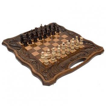 Шахматы + нарды резные афинские 50 с ручкой