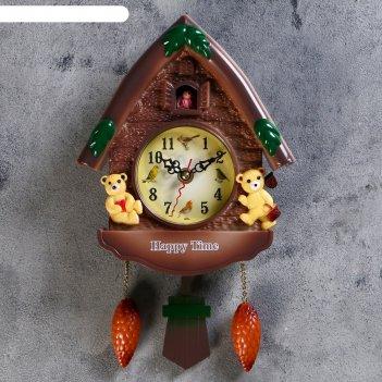 Часы настенные с кукушкой мишки в домике