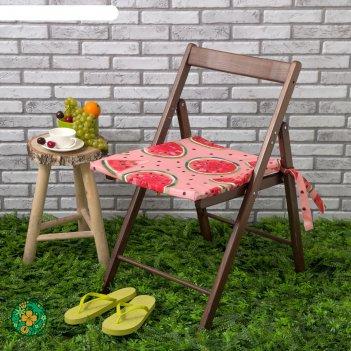Подушка на стул уличная «этель» арбузы, 45x45 см, репс с пропиткой вмго, 1