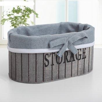 Корзина для хранения деревянная овальная 15x15x9 см storage , цвет серый