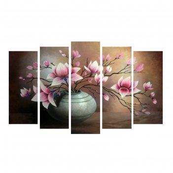 Картина модульная на подрамнике цветы в вазе  2шт-25*71; 2шт-25*63; 1шт-25