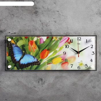 Часы настенные прямоугольные бабочки, 50х20 см