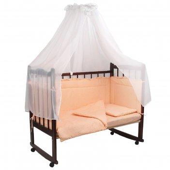 Комплект в кроватку 7 предмета горошки персиковый 10703