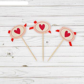 Пика для канапе сердечко с бантиком, набор 12 штук