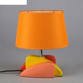 Лампа настольная с абажуром е14 40вт эклектика жёлто-оранжево-персиковая 3
