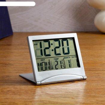 Часы настольные электронные: календарь, будильник, термометр,  cr2025 8.8х