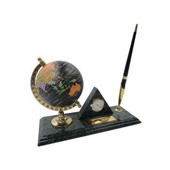 Настольный набор: глобус из пластика, ручка шариковая, часы из меди, на мр