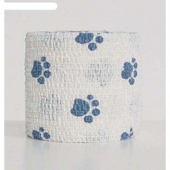 Бандаж andover petflex голубые лапы на белом, 5 см х 4,5 м