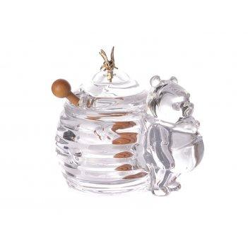 Банка для меда мишка с деревянной палочкой 17*12.5*11 см. коллекция muza (