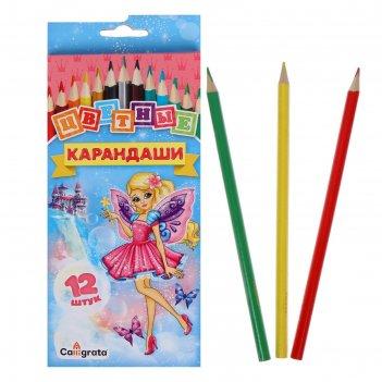 Карандаши «школа талантов», 12 цветов, «принцесса»