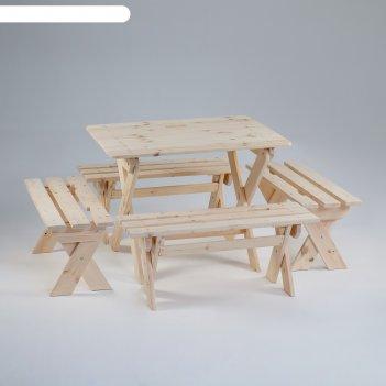 Комплект садовой мебели душевный : стол 1,5м, четыре лавки(ксл-05)