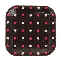 Набор бумажных тарелок цветные сердечки черный цвет, (6 шт), 18 см