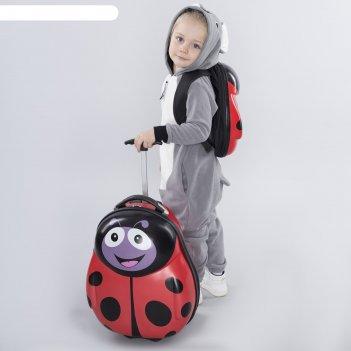 Чемодан детский 17, отдел на молнии, 2 колеса, с рюкзаком 13, цвет красный