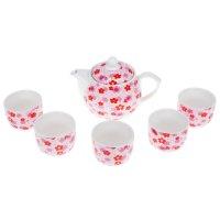 Набор для чайной церемонии на 5 персон цветочная поляна (чайник, 5 чашек,