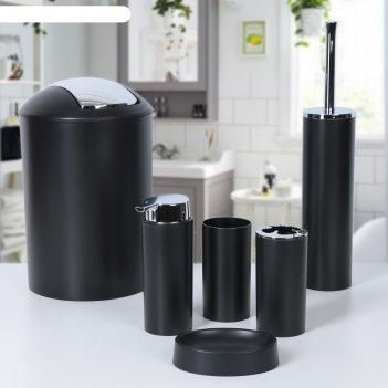 Набор для ванной 6 предметов тринити, цвет чёрный