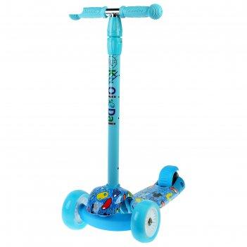 Самокат стальной, колёса световые pu d=9/4 см, abec 7, до 60 кг, цвет сини