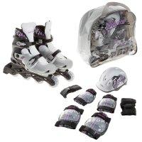 Набор ролики раздвижные + защита, колеса pvc 64 мм, пластиковая рама, blac