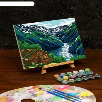 Картина по номерам на холсте с подрамником «горы» 20x30 см