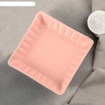 Блюдо для запекания лора 18,5х18,5х5 см, цвет розово-оранжевый
