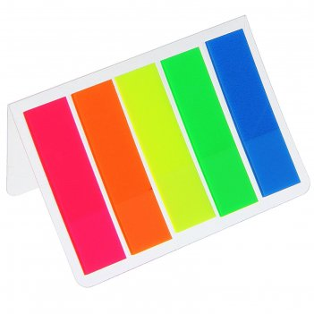 Закладки с клеевым краем, пластиковые, флуоресцентные, 5 цветов по 15 лист