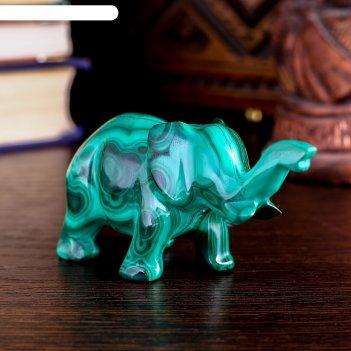 Сувенир слон средний, натуральный малахит