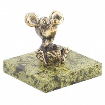 Статуэтка мышка с сыром бронза змеевик 50х50х45 мм 100 гр.