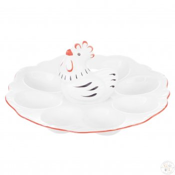 Поднос для яиц 21 см курица корона