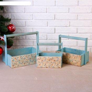 Набор кашпо новогодний №6 3 в 1, из массива сосны, деревянная ручка, голуб
