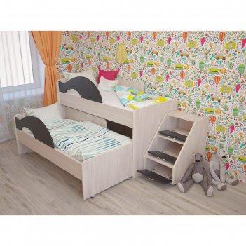 Кровать двухъярусная выкатная матрешка 800х1600 с лестницей венге/млечный
