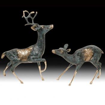 Статуэтка из бронзы олени пара