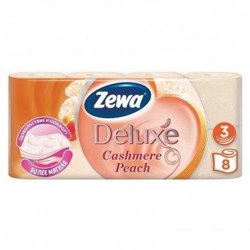 Туалетная бумага zewa deluxe трехслойная, аромат персика, 8 рулонов