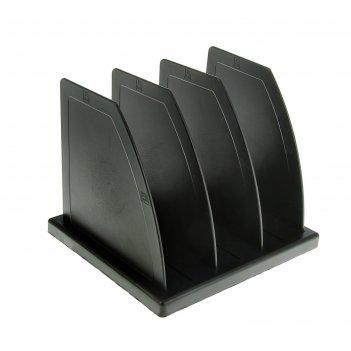 Сортер - подставка для журналов и бумаг, сборная, 3 отделения, чёрная