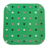 Набор бумажных тарелок цветные сердечки зеленый цвет, (6 шт), 23 см
