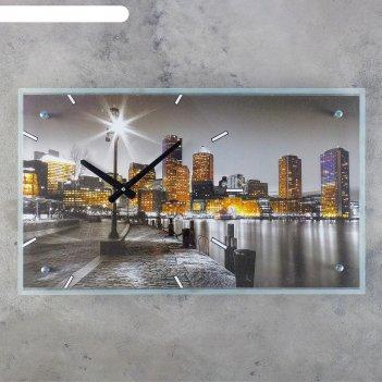 Часы настенные прямоугольные ночной город, стекло, 35х60 см