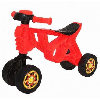 Ор188 каталка-беговел самоделкин 4 колеса с клаксоном красная