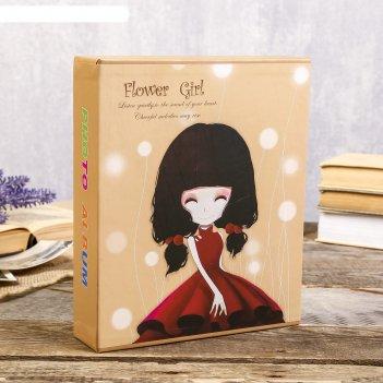 Фотоальбом на 80 фото 10х15 см девочка с цветком в коробке микс 23х19х5,2