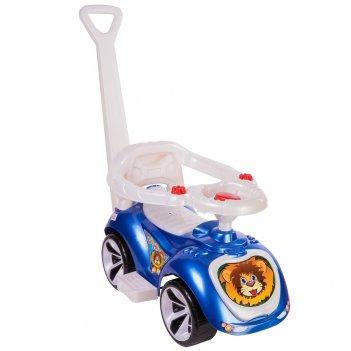 Ор809 каталка машинка с родительской ручкой мишка (lapa) цвет синий