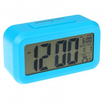 Электронные часы-будильник, подсветка, бат. 3aaa, дата, температура, синий