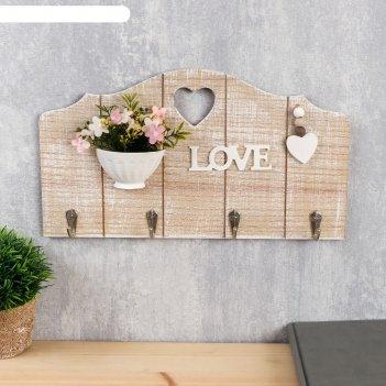 Крючки декоративные дерево вазон с цветами с сердечком 19,5х35х3,5 см