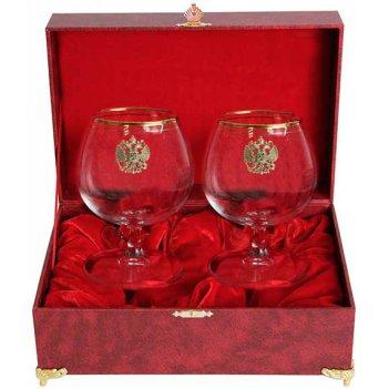 Набор из двух бокалов для коньяка с дв. золотой обводкой(герб,латунь) в шк