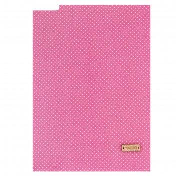 Ткань на клеевой основе «розовая в белый горошек», 21 х 30 см