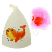 Набор банный морской котик, шапка + мочалка