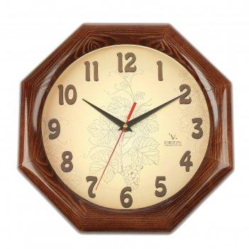 Часы деревянные восьмигранные узор, 30х30 см